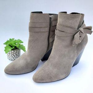 Pelle Moda Grey Suede Pointed Toe Block Heel Boots